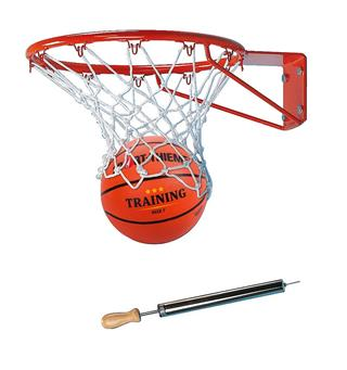 Basketkorg med basketboll & pump Inomhus eller utomhus